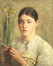 A Straw Plaiter By Sir George Clausen