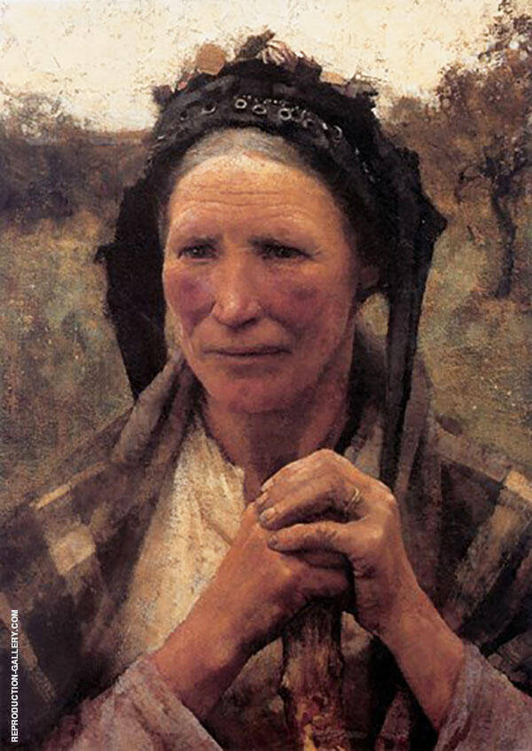 Head of a Peasant Woman Huge By Sir George Clausen