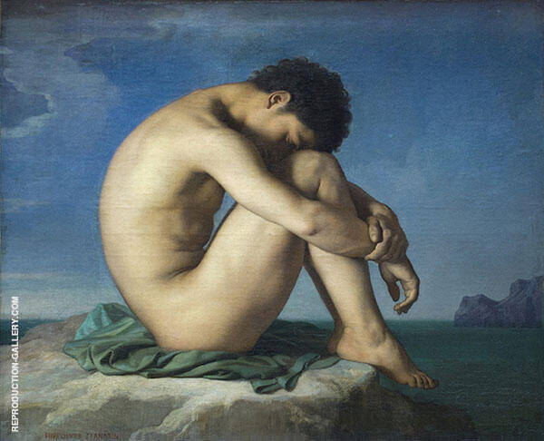 Jeune Homme nu Assis 1885 Painting By Jean Hippolyte Flandrin