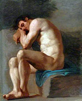 Study of Seated Male Nude By Pierre Subleyras