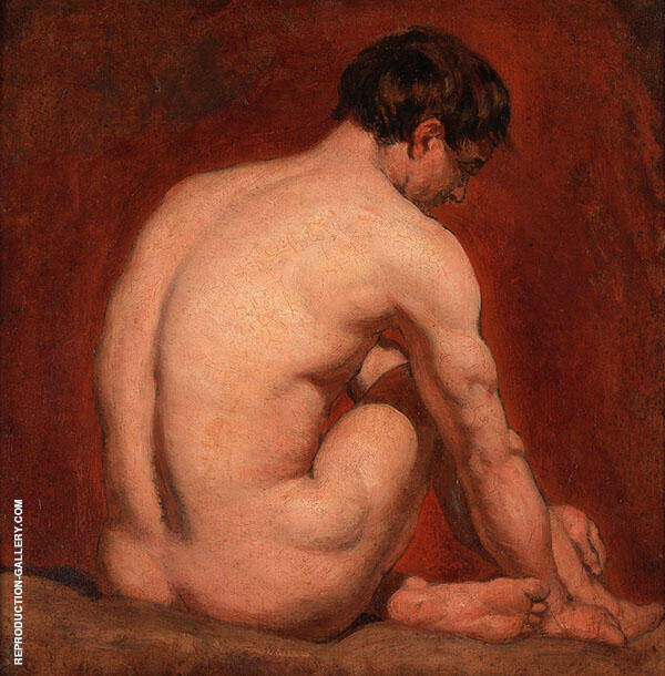 Male Nude Kneeling from Behind By William Etty