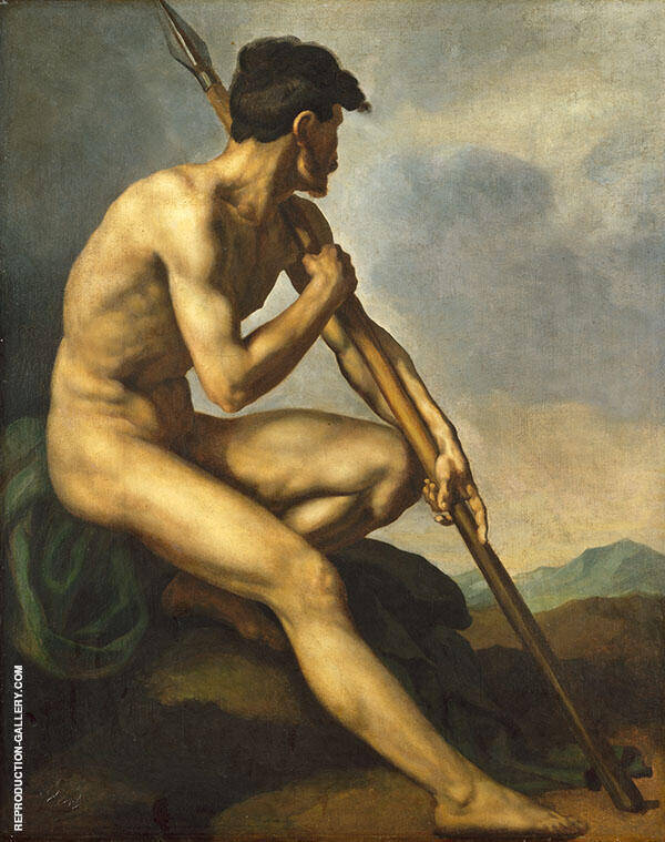 Nude Warrior with a Spear c1816 By Theodore Gericault