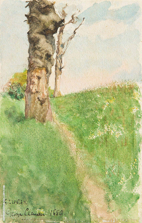 Path beside a Knarled Tree by Sir George Clausen | Oil Painting Reproduction Replica On Canvas - Reproduction Gallery