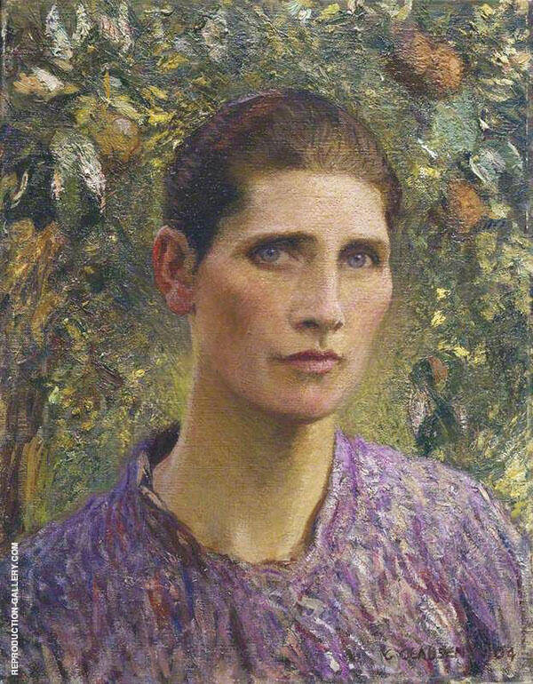 Portrait of a Village Woman 1904 by Sir George Clausen | Oil Painting Reproduction Replica On Canvas - Reproduction Gallery