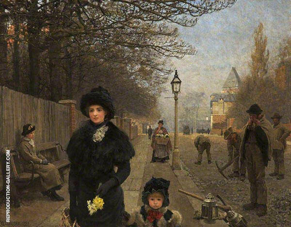 Spring Morning HaverStock Hill by Sir George Clausen   Oil Painting Reproduction Replica On Canvas - Reproduction Gallery