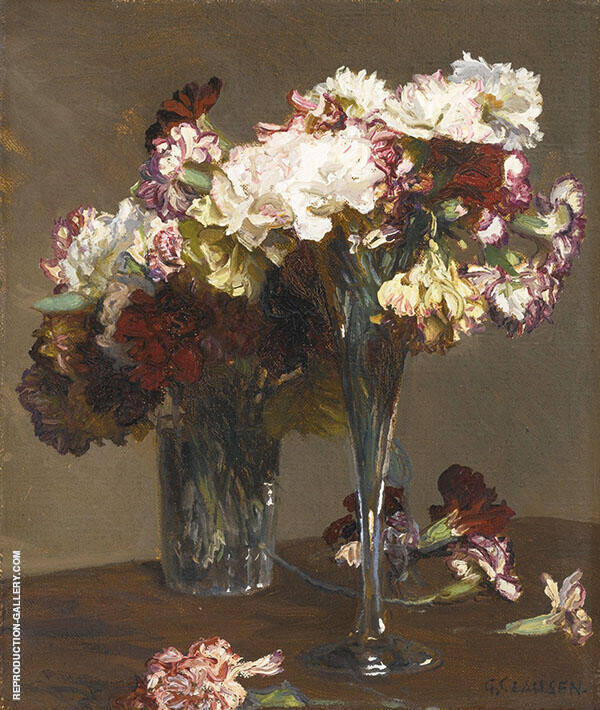 Still Life of Carnations by Sir George Clausen   Oil Painting Reproduction Replica On Canvas - Reproduction Gallery