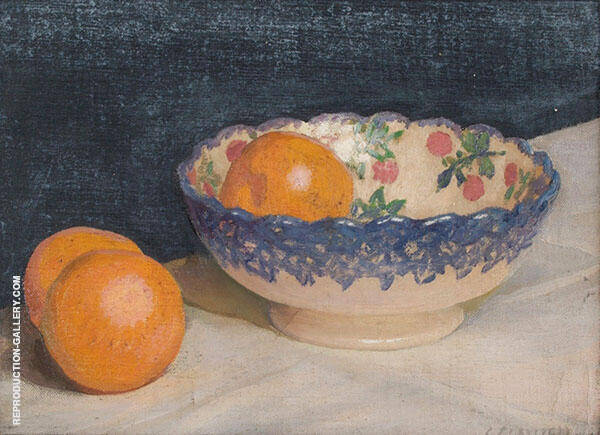 Still Life with Patterned Bowl and Oranges by Sir George Clausen   Oil Painting Reproduction Replica On Canvas - Reproduction Gallery