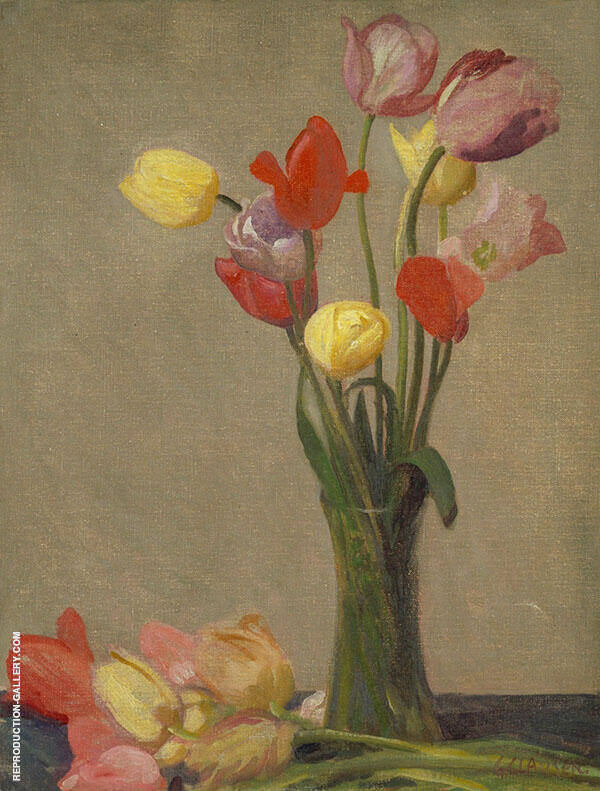 Still Life with Tulips 1920 by Sir George Clausen | Oil Painting Reproduction Replica On Canvas - Reproduction Gallery