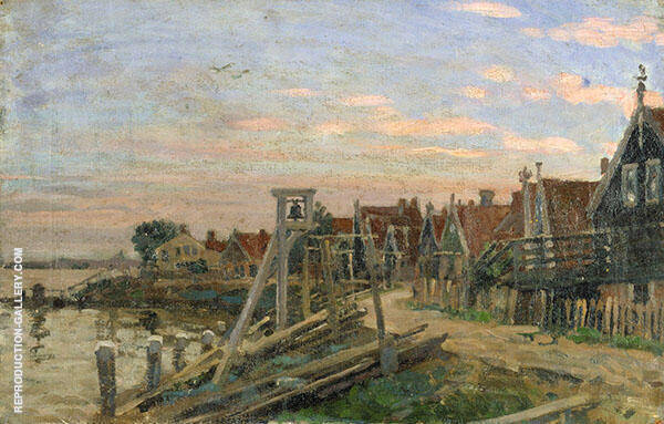 Study of Wooden Houses on a Beach at Sunset by Sir George Clausen | Oil Painting Reproduction Replica On Canvas - Reproduction Gallery