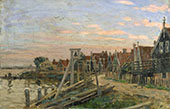 Study of Wooden Houses on a Beach at Sunset By Sir George Clausen