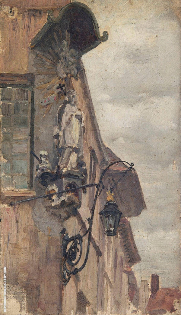Study of a Religious Statue on a Building Exterior 1870 by Sir George Clausen | Oil Painting Reproduction Replica On Canvas - Reproduction Gallery