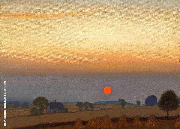 Sunset by Sir George Clausen   Oil Painting Reproduction Replica On Canvas - Reproduction Gallery