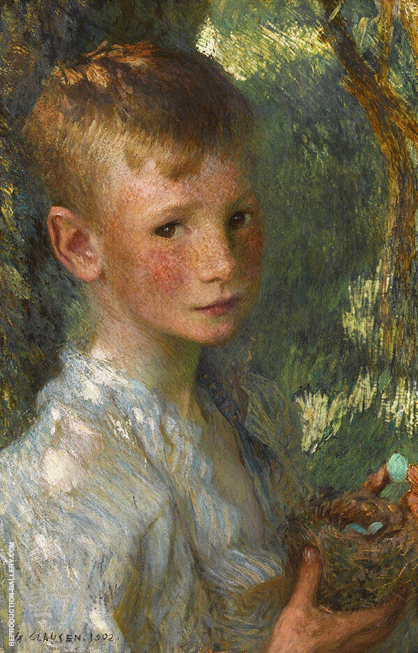 The Bird's Nest by Sir George Clausen   Oil Painting Reproduction Replica On Canvas - Reproduction Gallery