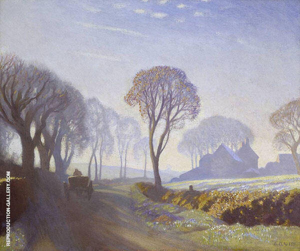 The Road Winter Morning by Sir George Clausen | Oil Painting Reproduction Replica On Canvas - Reproduction Gallery