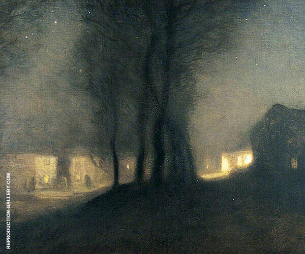 The Village at Night by Sir George Clausen | Oil Painting Reproduction Replica On Canvas - Reproduction Gallery