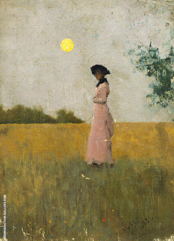 View of a Lady in Pink Standing in a Cornfield by Sir George Clausen | Oil Painting Reproduction Replica On Canvas - Reproduction Gallery