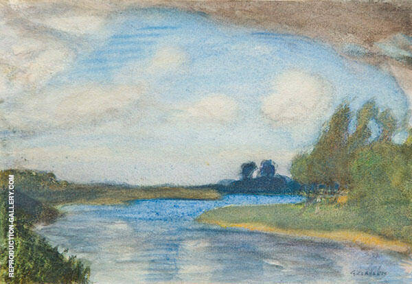 View of a River in a Landscape by Sir George Clausen   Oil Painting Reproduction Replica On Canvas - Reproduction Gallery