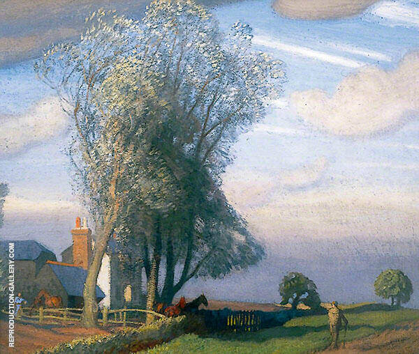 Willow Tree Farm by Sir George Clausen | Oil Painting Reproduction Replica On Canvas - Reproduction Gallery