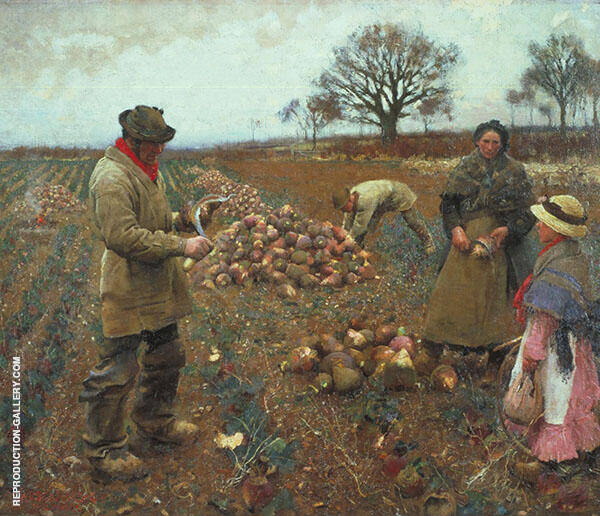Winter Work 1883 by Sir George Clausen | Oil Painting Reproduction Replica On Canvas - Reproduction Gallery