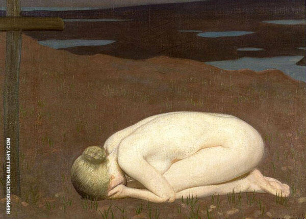 Youth Mourning by Sir George Clausen   Oil Painting Reproduction Replica On Canvas - Reproduction Gallery