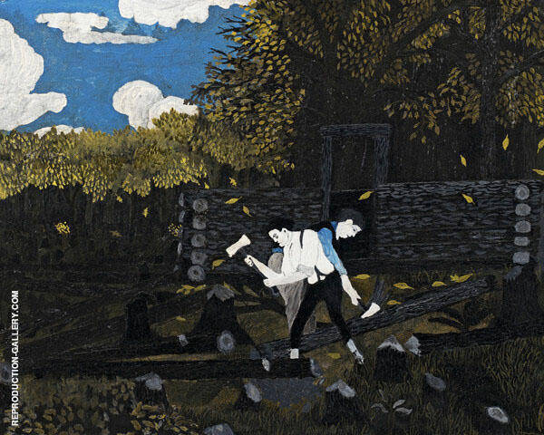 Abraham Lincoln and his Father Building Their Cabin on Pigeon Creek c1934 By Horace Pippin