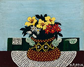 Flowers with Four Doilies 1946 By Horace Pippin