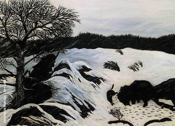 The Buffalo Hunt 1933 Painting By Horace Pippin - Reproduction Gallery