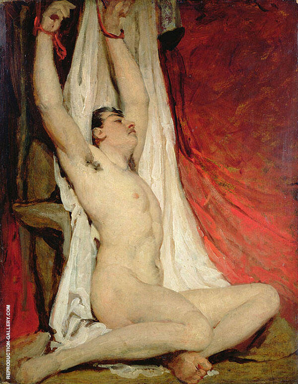 Male Nude with Arms Up Stretched 1828 By William Etty
