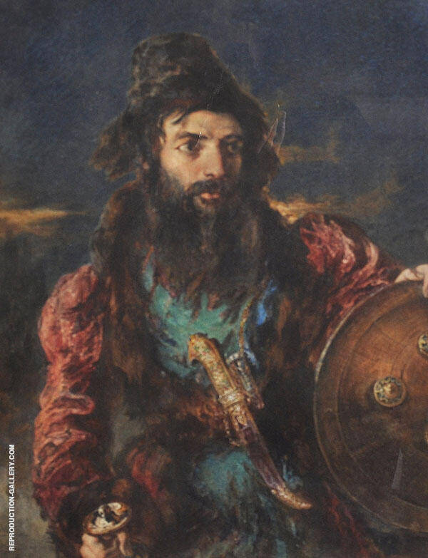 Persian Warrior Study of a Man Holding a Shield and Sword with a Dagger on his Waistband By William Etty