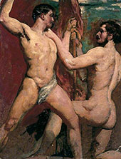 Two Male Nudes one Kneeling with Staff 1840 By William Etty