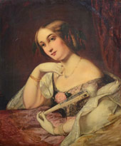 Young Lady in a Ball Gown Half Length By William Etty