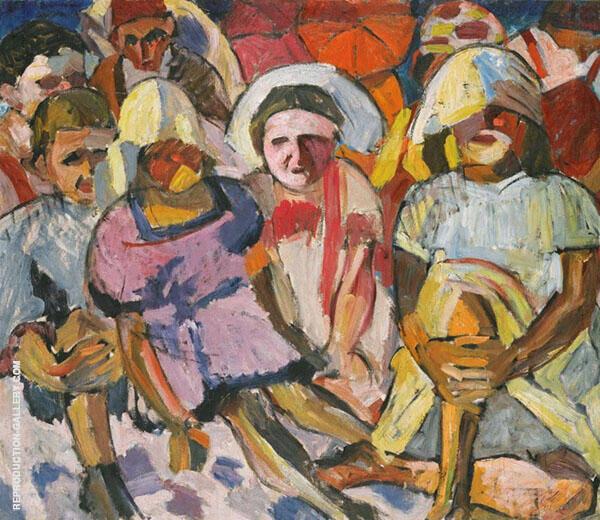 Children with Umbrellas Painting By Aristarkh Vasilyevich Lentulov