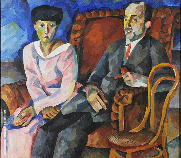 Family Portrait N M Schekotov with His Wife 1919 Painting By ...