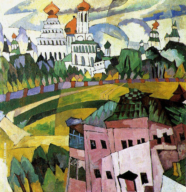 Landscape with Churches Painting By Aristarkh Vasilyevich Lentulov