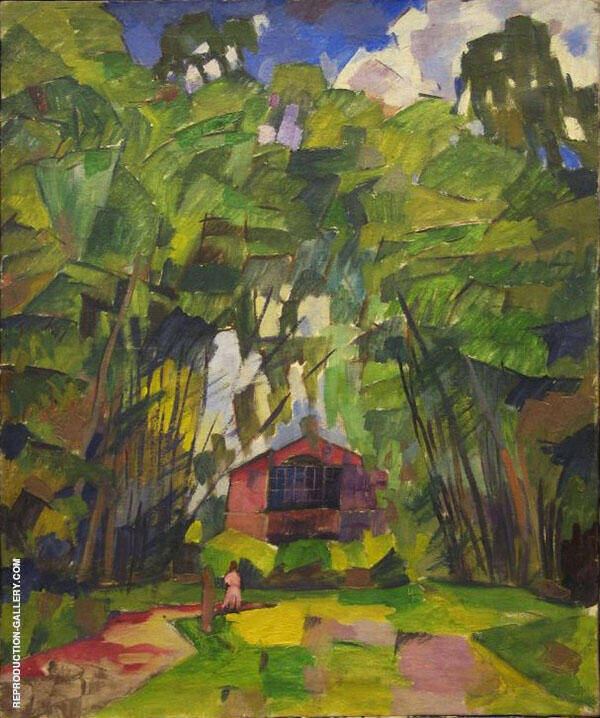 Landscape with Red House 1910 Painting By Aristarkh Vasilyevich Lentulov