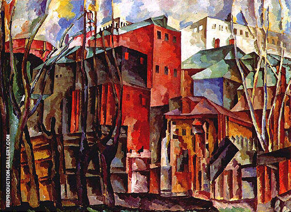 Landscape with Withered Trees and Tall Houses 1920 Painting By ...