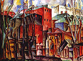 Landscape with Withered Trees and Tall Houses 1920 By Aristarkh Vasilyevich Lentulov