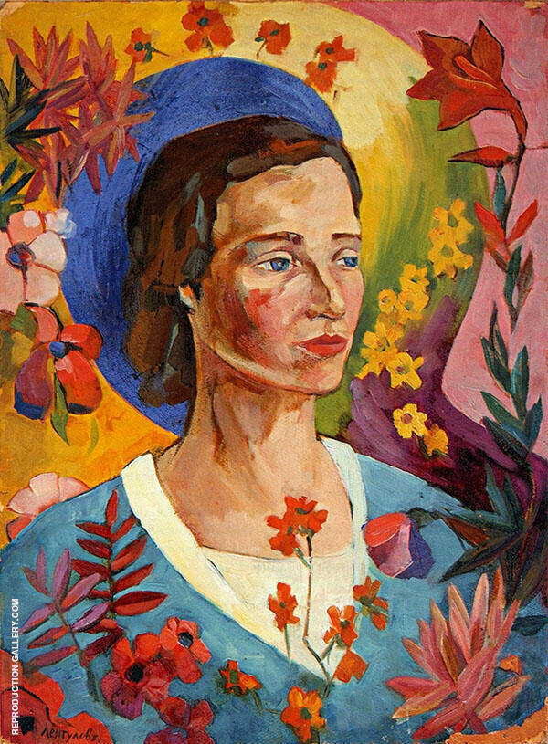 Portrait of an Unknown Woman in a Blue Dress 1916 By Aristarkh Vasilyevich Lentulov