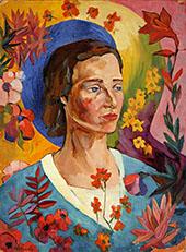 Portrait of an Unknown Woman in a Blue Dress 1916 By Aristarkh Vasilyevich Lentulov
