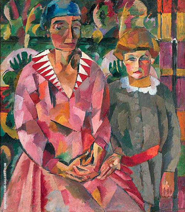 Portrait of Artist's Wife and Daughter 1915 By Aristarkh Vasilyevich Lentulov