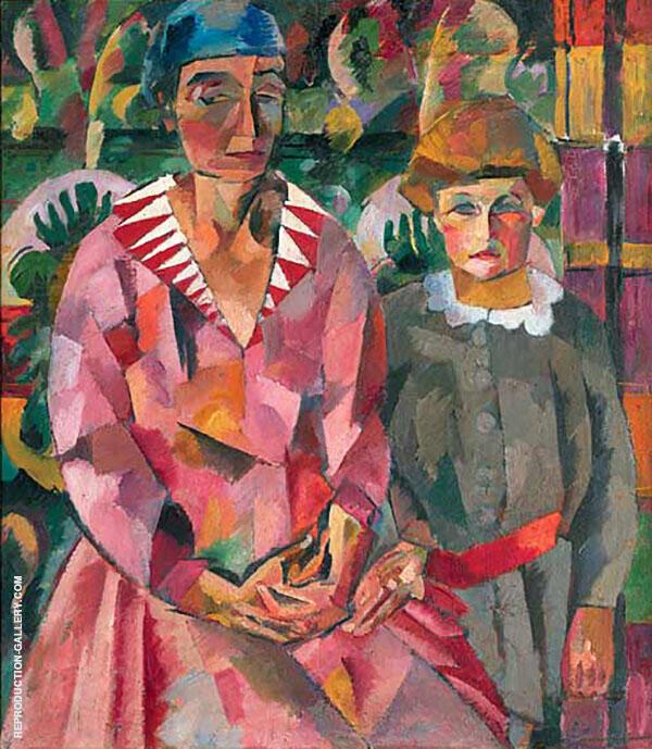 Portrait of Artist's Wife and Daughter 1915 By Aristarkh Vasilyevich Lentulov
