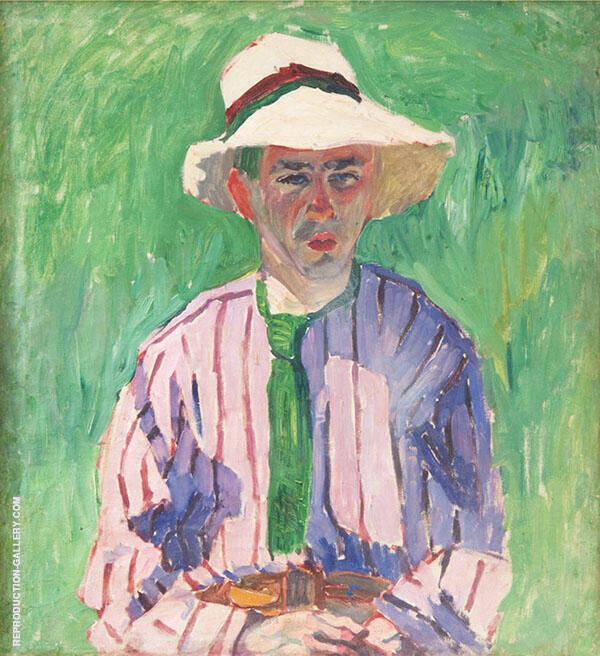 Portrait of a Young Man in Panama By Aristarkh Vasilyevich Lentulov