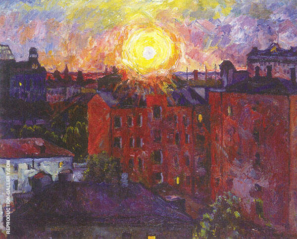 The Sun above The Roofs Sunset Painting By Aristarkh Vasilyevich Lentulov