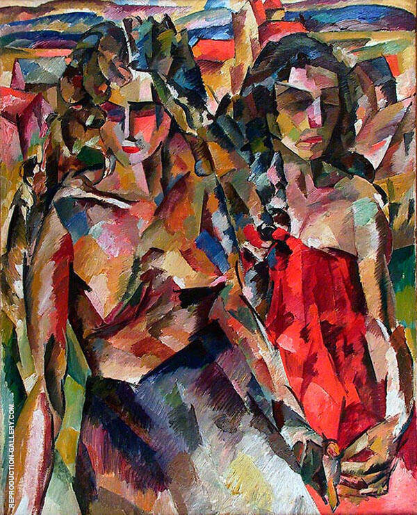 Two Women 1919 By Aristarkh Vasilyevich Lentulov