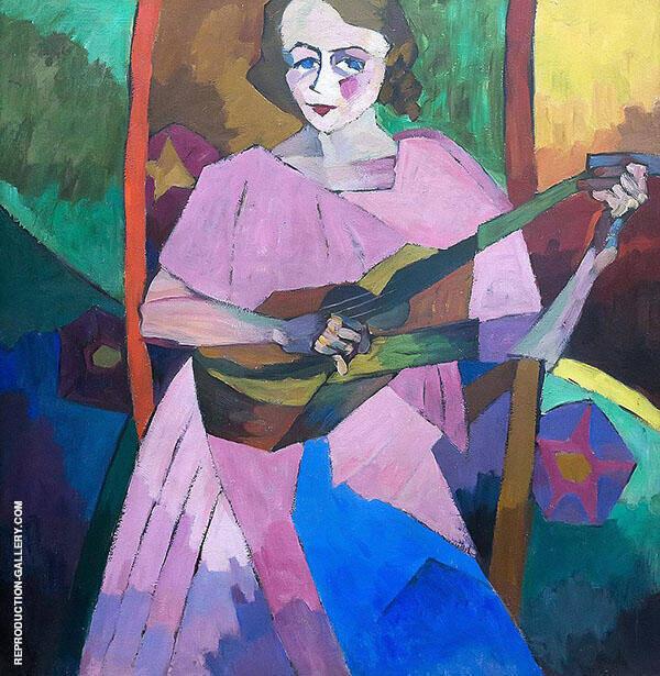Woman with Guitar 1913 Painting By Aristarkh Vasilyevich Lentulov
