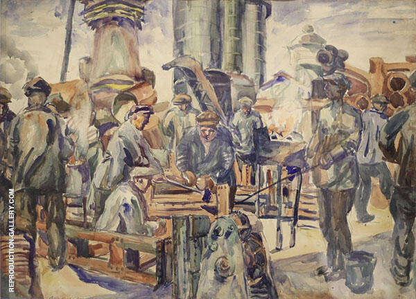 Workers of The Kerch Factory 2 Painting By Aristarkh Vasilyevich Lentulov