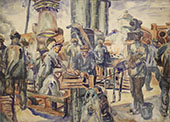 Workers of The Kerch Factory 2 By Aristarkh Vasilyevich Lentulov