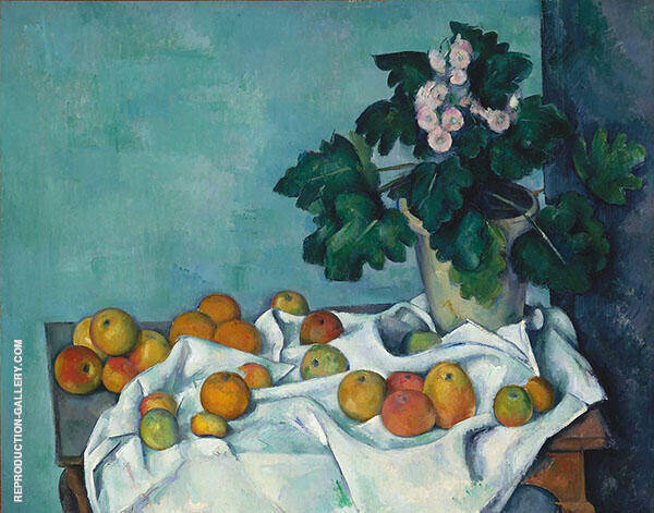 Still Life with Apples and a Pot of Primroses C1890 By Paul Cezanne
