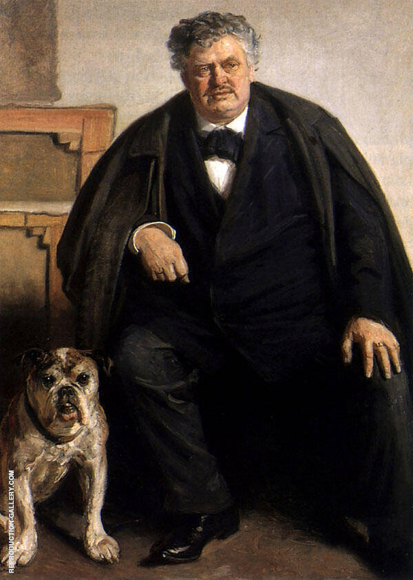 Carl Locher with his Dog Tiger By Michael Peter Ancher