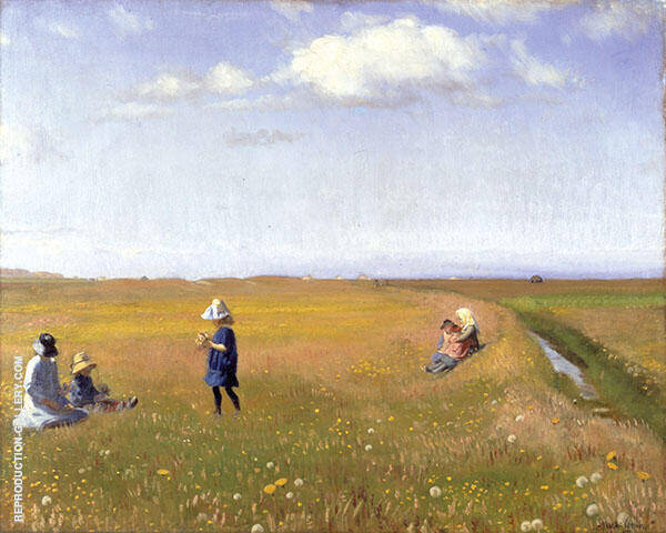 Children and Young Girls Picking Flowers in a Field North of Skagen By Michael Peter Ancher